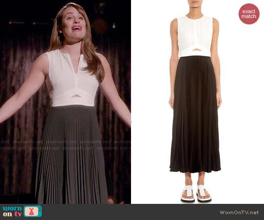 WornOnTV Rachels Black And White Pleated Dress On Glee