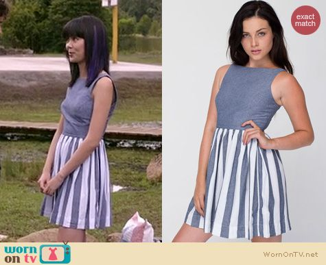 Wornontv Grace S Chambray Blue And White Striped Dress On
