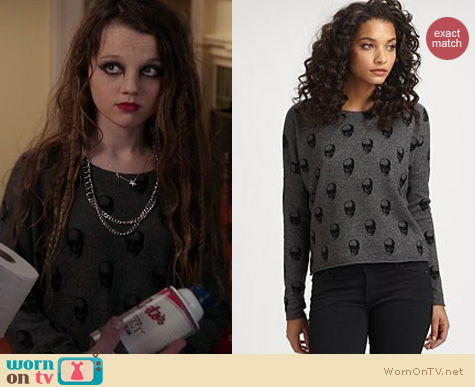 The Carrie Diaries Fashion: 360 Sweater Jackaline skull pullover worn by Dorrit Bradshaw