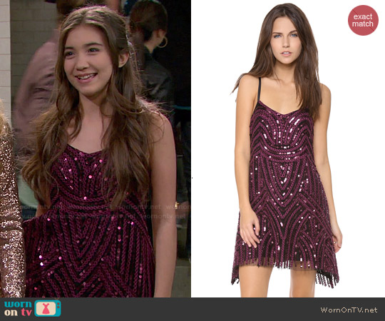 WornOnTV Rileys Purple Sequin Dress And Gladiator
