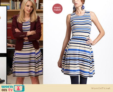 Glee Fashion: Anthropologie French stripes sweater dress worn by Dianna Agron