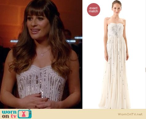 Glee Fashion: White Rebecca Taylor gown worn by Lea Michele