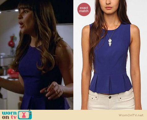 Glee Fashion: Urban Outfitters blue peplum top worn by Lea Michele