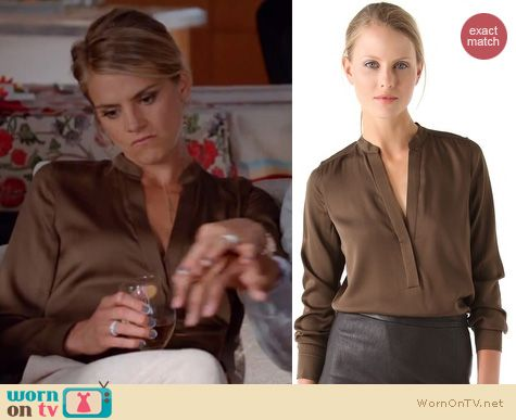 Happy Endings Fashion: Brown blouse by Vince worn by Eliza Coupe