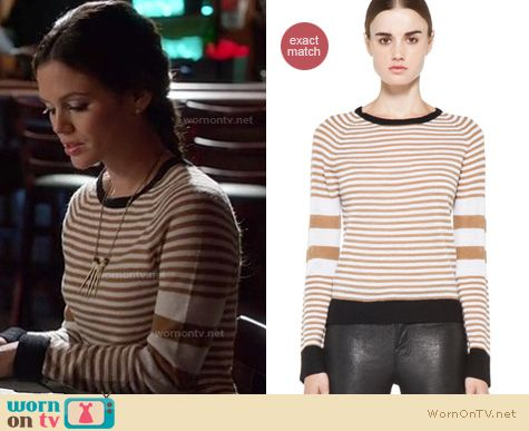 Hart of Dixie Fashion: Cayden brown striped sweater by ALC worn by Rachel Bilson