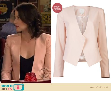 How I Met Your Mother Fashion: Mason by Michelle Mason cropped peach blazer worn by Cobie Smulders