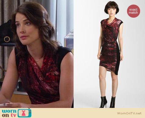 How I Met Your Mother Fashion: Helmut Lang Midnight floral dress worn by Cobie Smulders