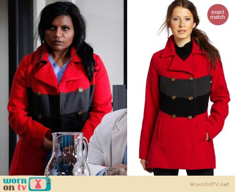 Mindy Project Fashion: BBDakota Carrian coat worn by Mindy Kaling