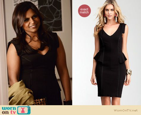 Mindy Project Fashion: Bebe Jenny pelum dress worn by Mindy Kaling