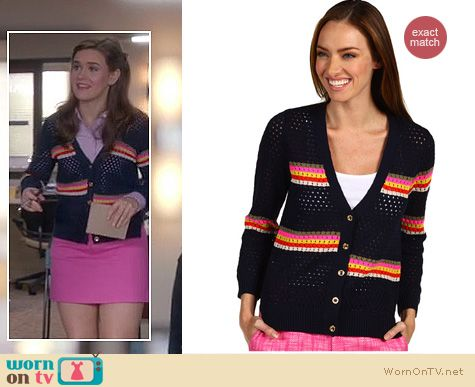 Mindy Project Fashion: Juicy Couture lagoon stripe mesh cardigan worn by Zoe Jarman