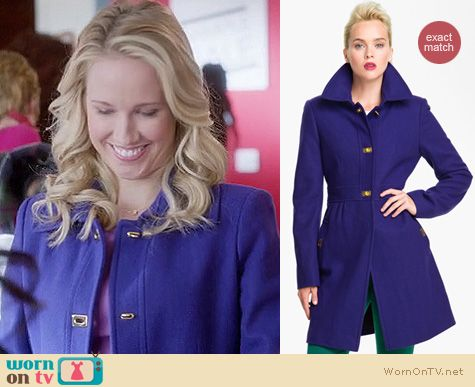 Mindy Project Fashion: DKNY purple Kendra coat worn by Anna Camp