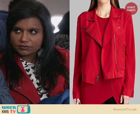 The Mindy Project Fashion: DKNY Silk Moto Jacket worn by Mindy Kaling
