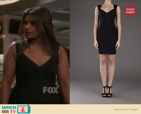The Mindy Project Fashion: Herve Leger black bandage dress worn by Mindy Kaling