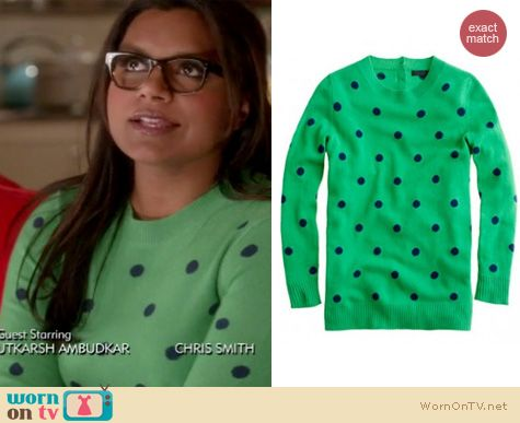 Mindy Project Fashion: J.Crew polka dot cashmere sweater worn by Mindy Kaling