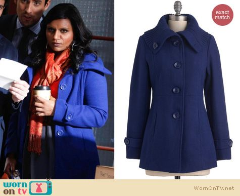 Mindy Project Fashion: Blue ModCloth coat worn by Mindy Kaling