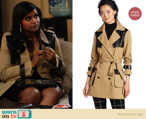 Mindy Project Fashion: Rebecca Minkoff Smith trench coat with leather worn by Mindy Kaling
