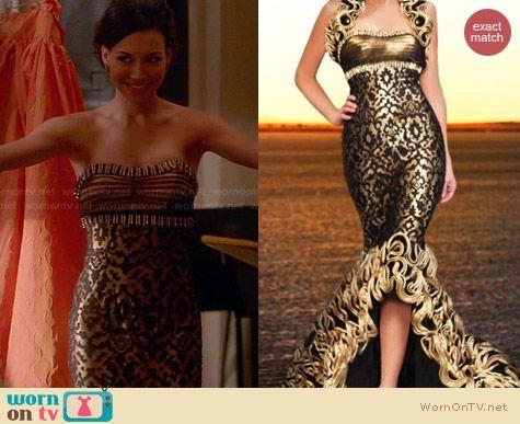 WornOnTV Santanas Gold Strapless Gown On Glee