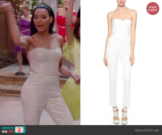 WornOnTV Santanas White Lace Strapless Jumpsuit On Glee