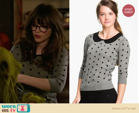 New Girl Fashion: Frenchi polka dot collared sweater worn by Zooey Deschanel
