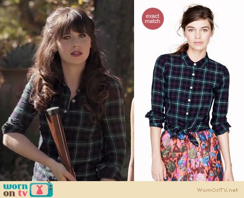 New Girl Fashion: J. Crew black watch plaid shirt worn by Zooey Deschanel