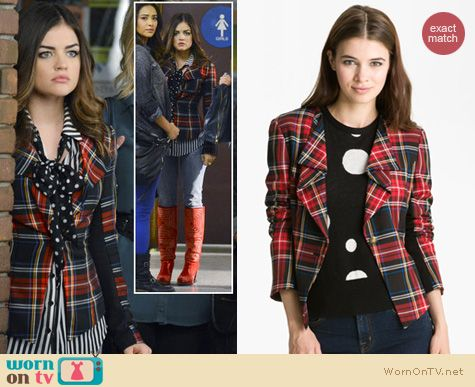 Pretty Little Liars Fashion: Heed tartan blazer worn by Lucy Hale