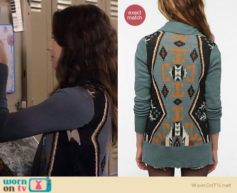 Pretty Little Liars Fashion: Urban Outfitters Ecote Intarsia aztec cardigan worn by Troian Bellisario