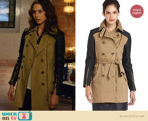 Pretty Little Liars Fashion: W118 Walter Baker Keanu leather trench coat worn by Troian Bellisario
