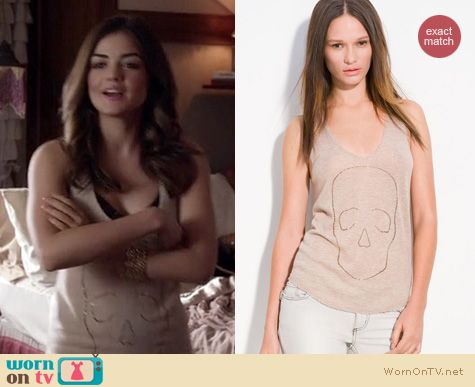 Pretty Little Liars Fashion: Zadig & Voltaire rhinestone skull tank worn by Lucy Hale