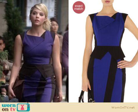 Liars fashion blue and black karen millen dress worn by ashley benson