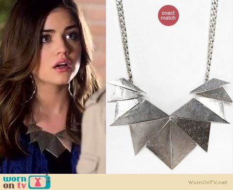 Pretty Little Liars Fashion: Urban Outfitters triangle necklace worn by Lucy Hale