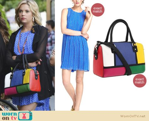 Pretty Little Liars Fashion: Anthropologie 'Flocked Cobalt Dress' worn by Ashley Benson