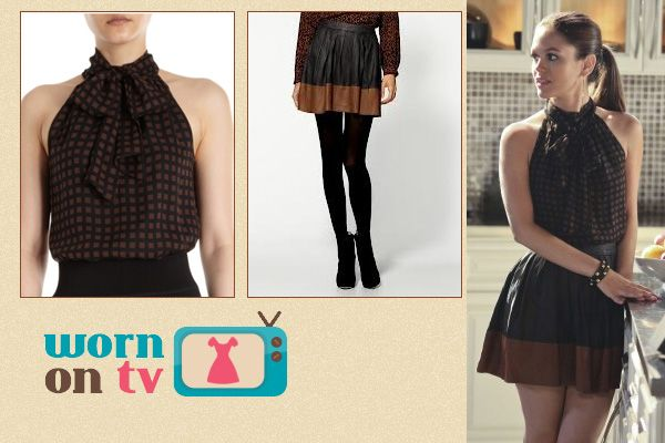 Rachel Bilsons black and brown leather skirt on Hart of Dixie