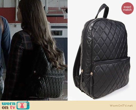 Ravenswood Fashion: Forever 21 Quilted Faux Leather Backpack worn by Merritt Patterson