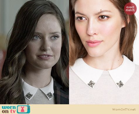Ravenswood Fashion: J. Crew Cashmere jeweled collar waffle sweater worn by Merritt Patterson