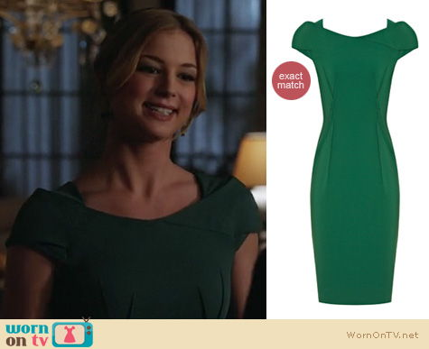 Revenge Fashion: Reiss Venna green dress worn by Emily VanCamp