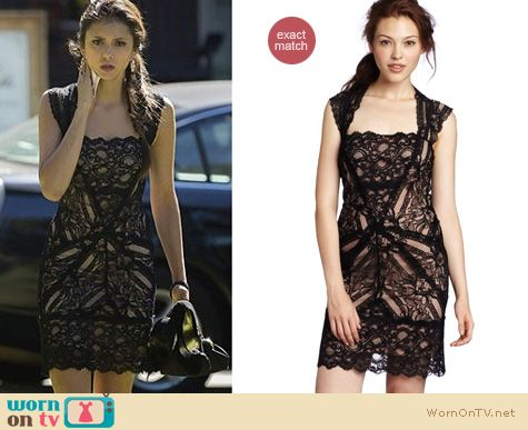 The Vampire Diaries Fashion: Nicole Miller black lace dress worn by Nina Dobrev