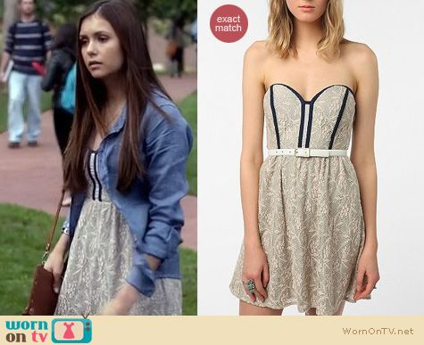 Vampire Diaries Fashion: Urban Outfitters lace dress worn by Nina Dobrev