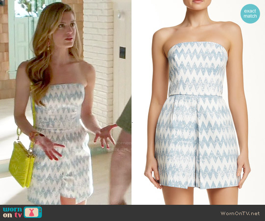 1.State Chevron Print Strapless Romper worn by Brooke D'Orsay on Royal Pains