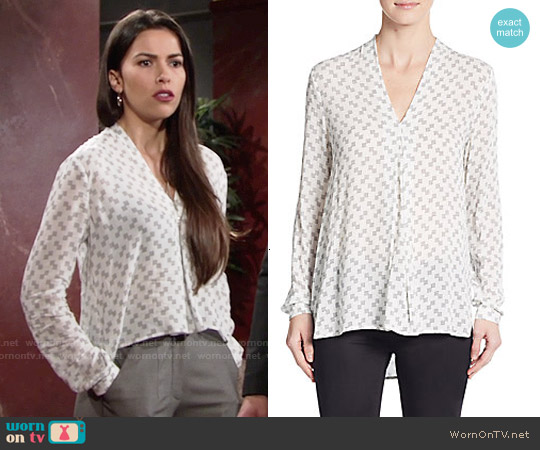 1.State Dotted Check Top worn by Sofia Pernas on The Young & the Restless