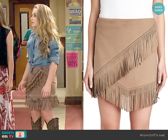 1. State Faux Suede Fringe Mini Skirt worn by Sabrina Carpenter on Girl Meets World
