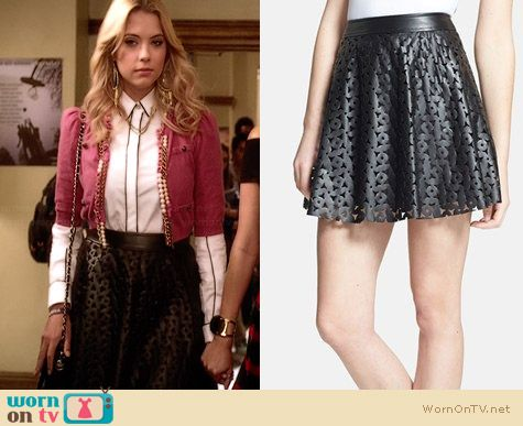 1.State Laser Cut Faux Leather Skirt worn by Ashley Benson on PLL