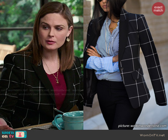1.State Windowpane Blazer worn by Emily Deschanel on Bones