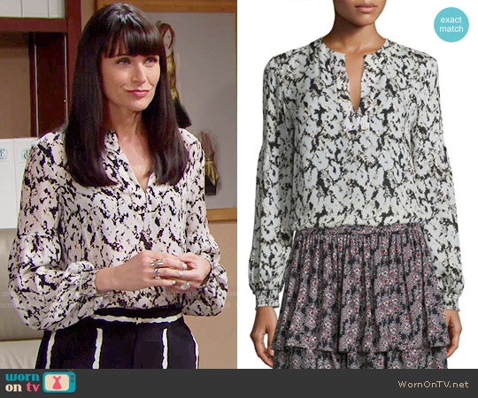 10 Crosby by Derek Lam Long-Sleeve Floral Silk Blouse worn by Rena Sofer on The Bold & the Beautiful