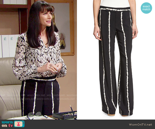 10 Crosby by Derek Lam Striped Silk Wide-Leg Trousers worn by Quinn Fuller on The Bold & the Beautiful