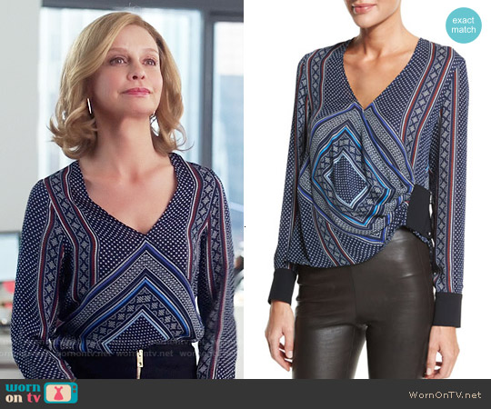 10 Crosby Derek Lam Wrap-Front Long-Sleeve Blouse worn by Calista Flockhart on Supergirl