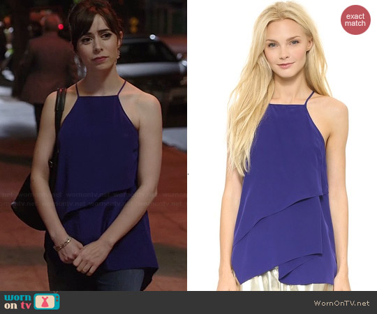 10 Crosby by Derek Lam Draped Camisole in Indigo worn by Cristin Milioti on A to Z