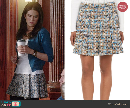 10 Crosby by Derek Lam Geometric-Tweed Box Pleated Skirt worn by Karla Souza on HTGAWM