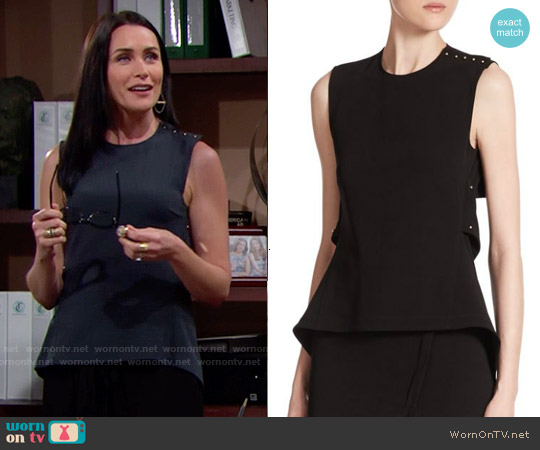 10 Crosby Derek Lam Open Back Peplum Top worn by Rena Sofer on The Bold & the Beautiful