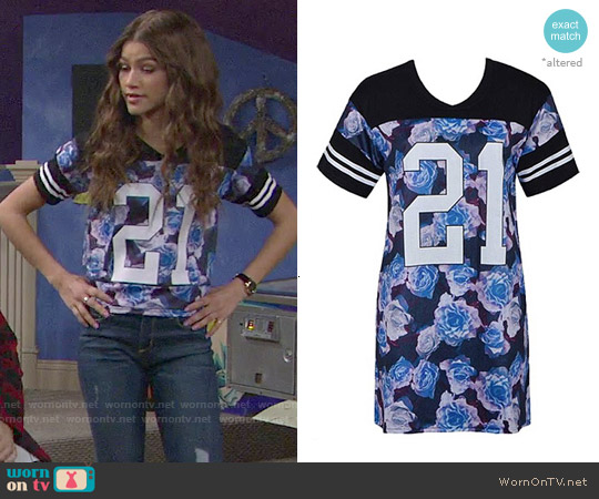 21 Dress in Black Blue Floral worn by Zendaya on KC Undercover