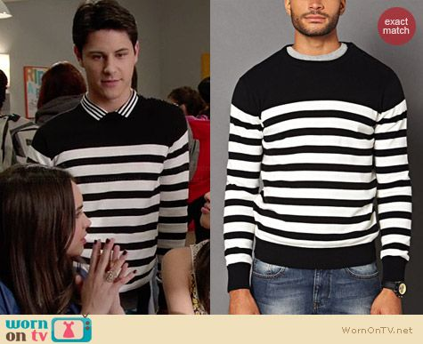 21 Men Buttoned Striped Sweater worn by Michael Willett on Faking It